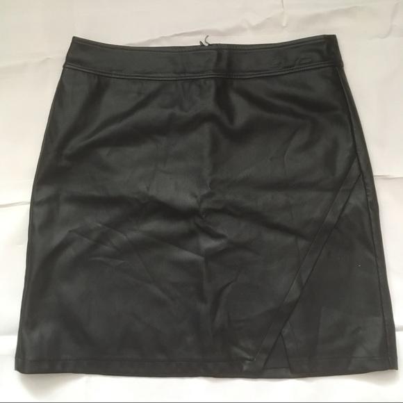 Loft vegan leather black mini skirt